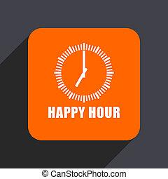 Happy hour orange flat design web icon isolated on gray background