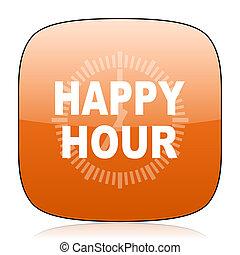 happy hour orange square web design glossy icon