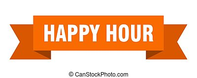 happy hour ribbon. happy hour isolated sign. happy hour...