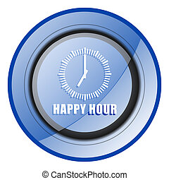 Happy hour round blue glossy web design icon isolated on white background