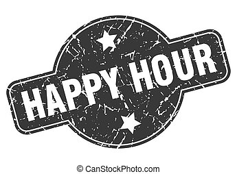 happy hour round grunge isolated stamp