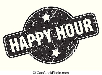 happy hour round grunge isolated stamp