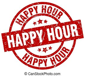 happy hour round red grunge stamp