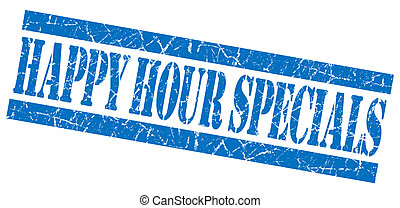 Happy hour specials grunge blue stamp