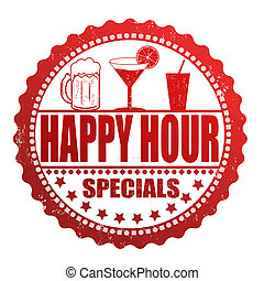 Happy hour specials stamp - Happy hour specials grunge...