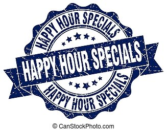 happy hour specials stamp. sign. seal