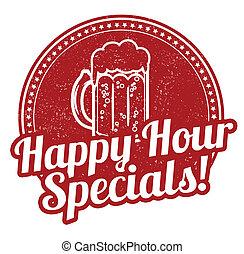 Happy hour specials stamp