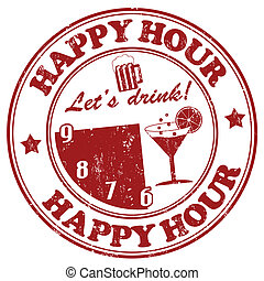 Happy Hour stamp - Happy Hour grunge rubber stamp on white,...