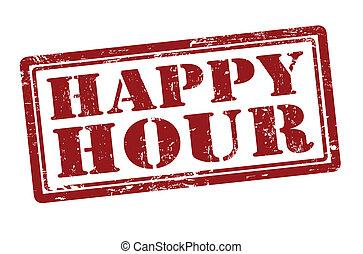 Happy Hour grunge rubber stamp, vector illustration
