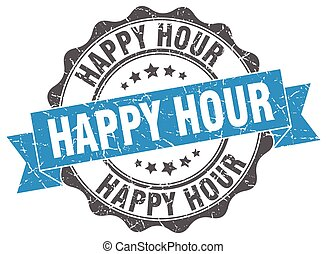 happy hour stamp. sign. seal