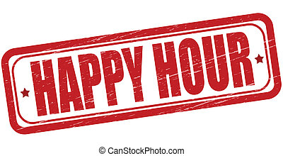 Stamp with text happy hour inside, vector illustration