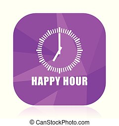 Happy hour violet square vector web icon. Internet design and webdesign button in eps 10. Mobile application sign on white background.