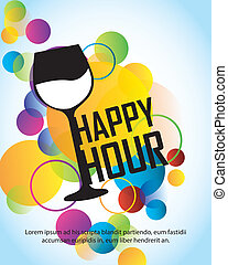 happy hour with cup over colorful circles over blue...