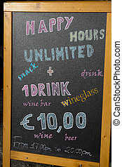 happy hours board with menu