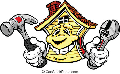 Cartoon Vector Image of a Happy Smiling House with Hands Holding a Hammer and Wrench