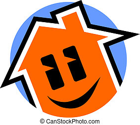 Happy house icon - Creative design of happy house icon