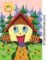 Happy house - Illustration of happy house in spring time...
