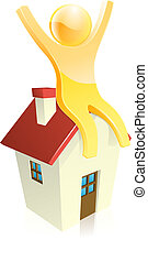 Happy house person - Happy person sitting on a house with...