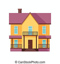 Happy House with Terrace Banner Poster Template.