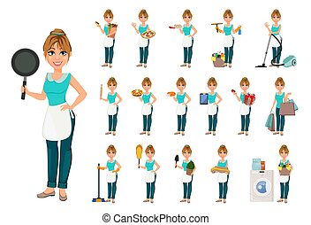 Happy housewife, set of seventeen poses