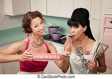 Happy Housewife with Friend - Happy housewife shows her...