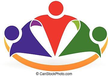 Happy hug business people logo - Happy hug business people...