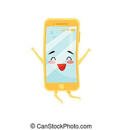 Happy humanized mobile phone in jumping action. Smartphone with cute face. Flat vector element for sale banner