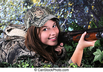 Happy Hunter - Close-up image of a pretty young teen hunter...