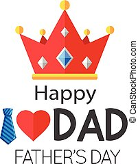 Happy I Love Dad Father's Day Crown Background Vector Image