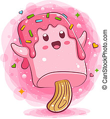 Happy ice cream cartoon character
