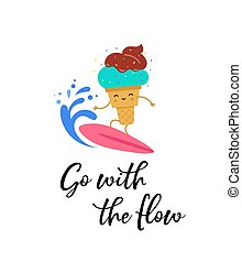 Happy Ice cream character on the surf board, poster and shirt design