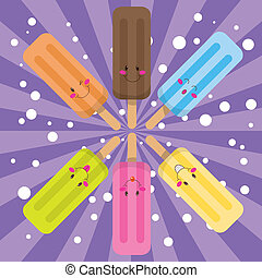 Six cute ice lolly in circle with different colors and facial expressions