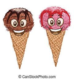 happy icecream cartoon character smiling.