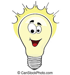 Happy idea - Cartoon illustration of a happy lightbulb, or a...