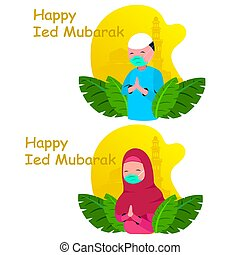 set vectors color illustrations for Happy Ied Mubarak