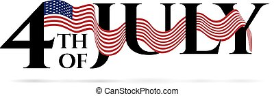 Happy independence day 4-th july with colours of american flag. Vector