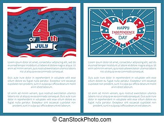 Happy Independence Day 4th of July Posters Heart