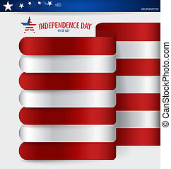 Happy independence day card United States of America. Ribbon des