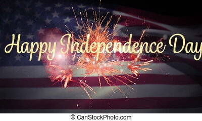 Happy Independence Day greeting with fireworks and flag