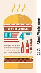 HAPPY independence day of America, card or invitation template