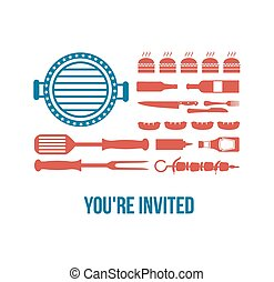 HAPPY independence day of America, invitation for bbq party