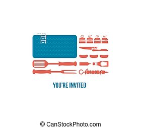 HAPPY independence day of America, invitation for pool party