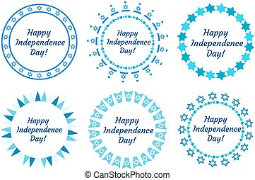 Happy Independence Day of Israel set of round frames with space for text. Jewish Holidays Border for your design. Vector illustration, clip art.