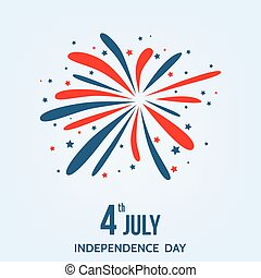 Happy Independence Day of the USA card with firework. -...