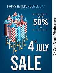 Happy Independence Day of the USA sale banner.