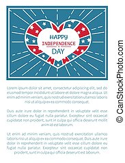 Happy Independence Day Poster Heart Shape Label
