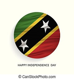 Happy Independence Day Saint Kitts waving Flag
