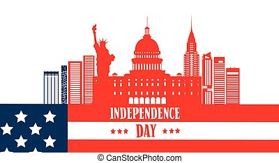 Happy Independence Day United States American Famous Building Symbol