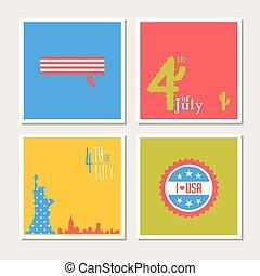 Happy independence day, United States of America card set. Fourthof July.
