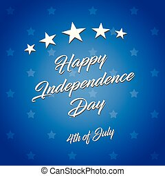 Happy Independence Day! vector illustration on blue background. The 4th of July